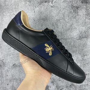 Новое Прибытие Мода Мужчины Женщины Повседневная Обувь Италия Модные Кроссовки Обувь Высокое Качество Натуральная Кожа Пчела Вышитая Черный Тигр Чауссуры