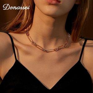 Donarsei Hip Hop Collar de cadena gruesa para las mujeres Simple Geométrico Link Chokers Collar Party