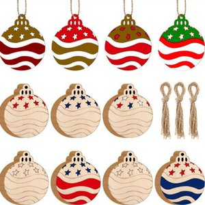 10pcs Lot Christmas Wooden Ornaments Christmas Tree Hanging Xmas Pendant Blank DIY Wood Craft Gift Decoration GGB2688