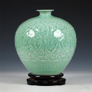 Antique Jingdezhen Chinois Céramique Vert Green Gravure Jade Vase De Mariage Décoration White Porcelaine Vase Vase Fleur Vase Cadeau LJ201209