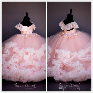 2021 Pink Lace Beaded Flower Girl Dresses Ball Gown Hand Made Flowers Cheap Little Girl Wedding Dresses Vintage Pageant Dresses Gowns