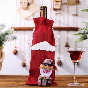Bouteille de vin de Noël Bonhomme de neige Couverture bas de Noël Sacs cadeaux de Noël d'emballage cadeaux Navidad Sack Noël Nouvel An 2020 HH9-3372