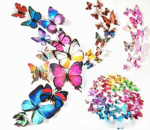 3D Butterfly 12pcs wall decor Magnetic Simulation Butterfly Wall Stickers Home decoration art Decals Removable PVC fridge Refrigerator decor