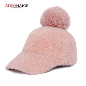 New Fashion Lady Mohair Winter Hat Women Pompom Casual Knit Beanie Warm Berets women's Baseball Cap Wool Visor Bonnet Soft 201013