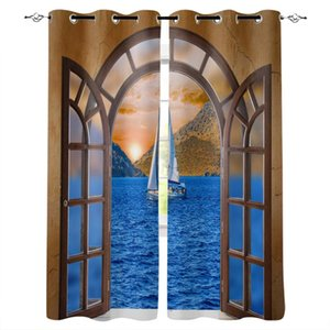 Window Sea Sailboat Curtains for Living Room Bedroom Kitchen Home Supplies Ready-made Window Curtains