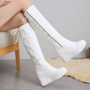 Keil-Plattform-Frauen-Stiefel kniehohe Stiefel Mädchen Slip on Fashion Höhe Ferse-Keil-Stiefel weiß beiläufige Schuh-Frau zogeer