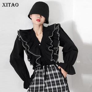 Xitao Rüschenbluse Art und Weise Neue Frauen Design Sense von Ohrmuschelrand voller Hülsen kleiner frischen beiläufige Art loses Hemd ZY1221