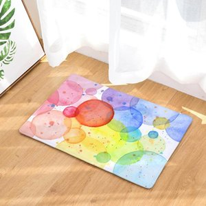 Rectangle Mat Door Mat Anti Slip Oil Painting Geometry Flannel Printing Floor Pads Bath for Bathroom Kitchen Home Decoration