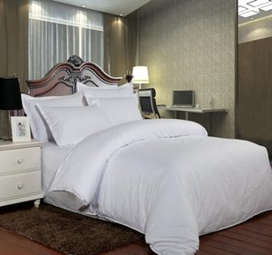 100% Cotton Solid Bedding Set Strip Luxury White Hotel Bed Linen Twin Queen Full King Size Duvet Cover&FittedGQ
