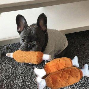 Plush Bone Dog Chew Squeaky Toy Patchwork Fleece Chicken Leg Puppy Cat Molar Biting Toys Pet Squeaker Sound Toy