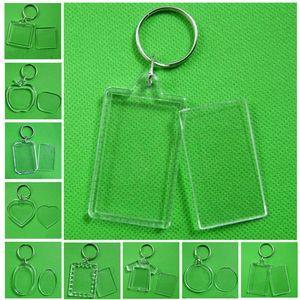Diy Split Ring Key Chain Rectangle Blank Acrylic Insert Photo Picture Frame Keyring Keychain Transparent Wholesale