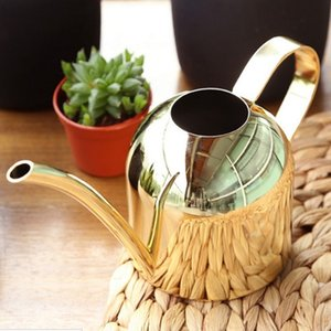 Plant Pot bottle Watering Device meaty bonsai garden tool,Watering Can Gold Color Stainless Steel Pot Long Spout Indoors Home T200518