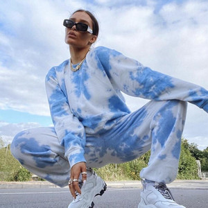 Tie Dye Women Two Piece Pants Set Lounge Wear Chandals Mujer Hoodies Sweatshirt Tracksuit Oversize Pullover Pantalon Plus Size1