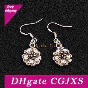 5 Pétale Fleur Boucles d'oreilles en argent 925 Poisson 40pairs Hook Oreille / Lot Antique Lustre Argent E344 13 .5x33 .5mm