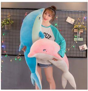 65 ~ 130cm peluche mignon Dolphin Jouets enfants Peluches Peluches Kawaii Poupées Filles Garçons Cadeaux de couchage Coussin oreiller étrennes