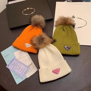 Мода унисекс весенние зимние шляпы с меховым мячом для мужчин и женщин дизайнер вязаный шапочка шерстяная шапка мужчина вязаный болот бостой сгущает