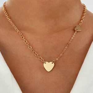 INS Style Gold Color Chain Heart Pendant Choker Necklace Women Statement Collares Bohemia Beach Jewelry Gift