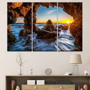 3 Pieces Canvas Painting Landscape Sunset Sea Scenery Wall Art Painting Modular Wallpapers Poster Print Home Decor