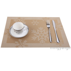 45*30CM Christmas Placemats Non-Slip Washable PVC Heat Resistant Table Mats Xmas Snow Place Mats for Dining Table Christmas MY-inf 0432