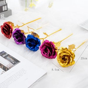 Foil Plated Rose Gold Rose Wedding Party Favors Valentine's Day Gift Lover Artificial Flowers