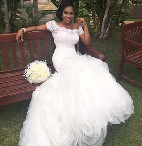 2021 Vintage African Ivory Mermaid Wedding Dresses Bateau Neck Short Sleeves Elegant Long Bridal Gowns Top Lace Applique Sweep Train