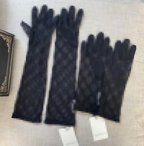 Kadınlar Fahion Mektupları İşlemeli Sürüş Eldivenler Mizaç Seyahat Parti Eldiven 2 Boyut için Siyah Dantel Eldiven