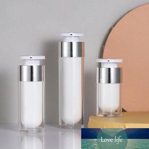 15ml 30ml 50ml Pearl White Acrílico Airless Jar Rodada Esvaziar garrafas reutilizáveis cosmético Creme Jar Bottle Bomba Embalagem Cosméticos