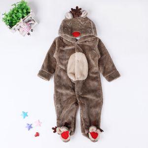 Bambini Ragazzi Ragazze Autunno Inverno Pigiama Pajamas Elk Coral Fleece Baby Slimbing Vestiti