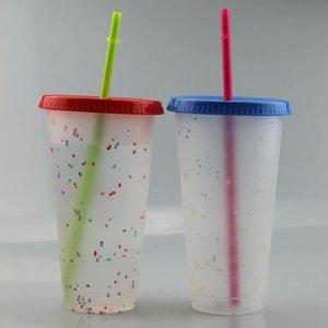 Le couvercle en plastique Lot de 24 onces Glitter paille 710ml PP tasse à café réutilisable couleur arc-en-bouteilles Changer l'eau froide boisson magique Tumbler HWF2374