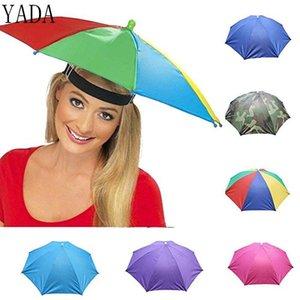 야다 야외 우산 모자 참신 접이식 일 날 비오는 날 핸즈프리 무지개 접는 방수 여러 가지 빛깔의 모자 캡 Ys0018 yxllEY