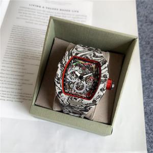 최고의 지수 버전 뼈대 다이얼 모든 리차드 섬유 패턴 케이스 일본 사파이어 RM Mens 시계 고무 디자이너 스포츠 시계