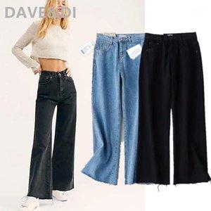 Davedi Moda Blogger High Street Vintage Lavagem Mamãe Calças de Jeans Mulher Jeans Cintura Alta Burrs Loose Harem Boyfriend para Women1