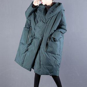 Kjmyyx übergroße winterjacke frau parka weibliche lose plus größe baumwolle gepolsterte schnee tragen koreanische kapuze oberbekleidung lang mantel 201027