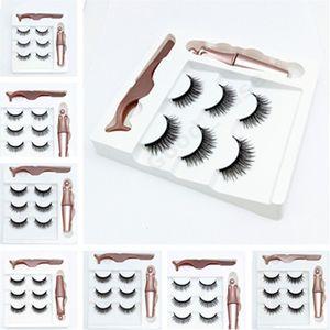 Womens 3 Pairs Magnetic Eyelashes False Lashes + Liquid Eyeliner + Tweezer Eye makeup set Reusable Natural 3D Magnet False Eyelash F101907