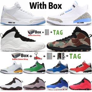 2020 com Box Jumpman 3 3S UNC Tinker Katrina Mens Basquetebol Tênis 10 10s Woodland Camo Chicago Cimento Trainers Esportes Sneakers Tamanho 13