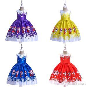 Baby Girl Christmas Dress Cartoon Printed Patchwork Sleeveless Vest Baby Kids Ball Gown Dresses Girls A-Line Dresses 07