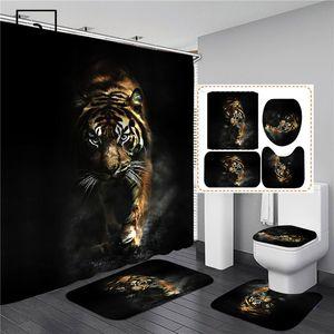검은 호랑이 동물 인쇄 샤워 커튼 세트 욕실 수영 화면 안티 슬립 화장실 뚜껑 커버 카펫 러그 주방 홈 장식 201128