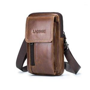 Laoshizi Luogen Taille Tasche für Männer Leder Fanny Pack Mobile Mini Umhängetasche Business Phone Brieftasche 911211