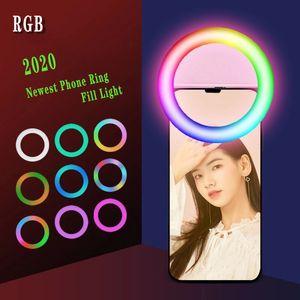 New LED Ring Selfie Light Live Beauty Selfie Fill Light USB Rechargeable Supplementary Lighting Camera Photography