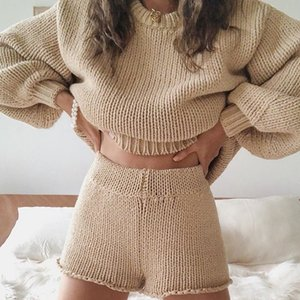 2pcs set Women Tracksuit Set Ladies Cable Knit Lounge Wear Suit Solid Crop Top Shirts Shorts Pants Clothes