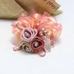 Goodflower Perle Rose Seide Garn Koreanische gebrochene String Kristall Tuch Kopfband Kopfschmuck 9