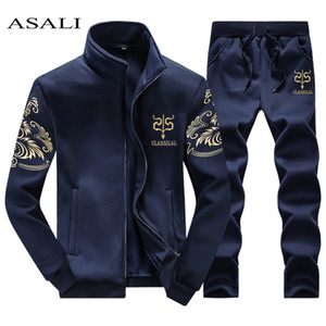 ASALI Men's Sportwear Suit Sweatshirt Tracksuit Without Hoodie Men Casual Active Suit Zipper Outwear 2PC Jacket+Pants Sets 201012