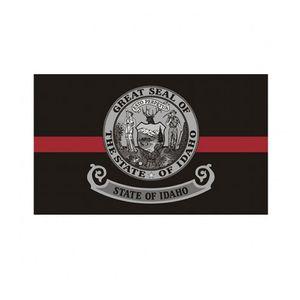 Bandera de la línea roja de la bandera del estado de Idaho Thin 3x5 FT bombero Banner Festival de 90x150cm regalo 100D poliéster bandera Impreso Interior Exterior