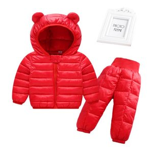 Children Cotton Padded Suit 2pcs Jackets + Pants Winter Baby Girls & Boys Warm Outerwear And Pants Kids Jackets For Girls 201127