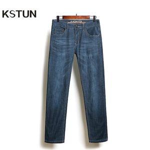 KSTUN Business Casaul Mens Jeans Retro Blue Straight Elasticity Summer Thin Vintage Man Long Trousers Denim Pants Jean Homme