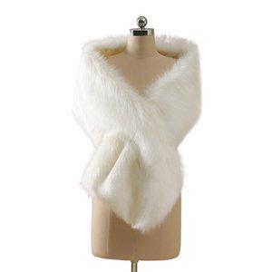Stokta Kış Düğün Ceket Gelin Faux Kürk Sararlar Sıcak Şallar Giyim Kore Tarzı Kadın Ceket Balo Akşam Parti CPA3307