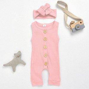 2020 2020 algodón del bebé mameluco de la manera sin mangas del bebé Ropa de una pieza de ropa de verano unisex chicas y el muchacho del mono de 18 meses 0 # TpuO