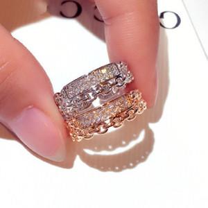 New ausufernd funkelnder Zirkonia Diamant-Ring Mode-Schmuck Luxus-Designer-Kette hohler offener geometrischer Ring für Mädchen Frauen