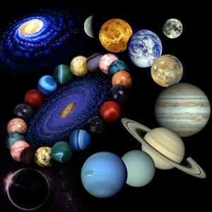 Galaxy Eight Planets Beaded Bracelet Men Natural Stone Universe Solar System Cosmic Galaxy Bracelets for Men Women Jewelry