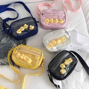 Women 2020 Transparent Small Duck Canvas Shoulder Messenger Bag Phone Purse Drop Shipping Good Quality